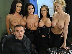 Group of dominant MILF\'s help one lucky office worker de-stress