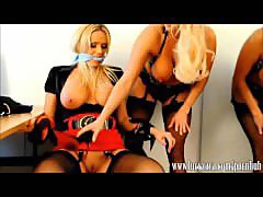 Lesbian bitch office boss spanks and licks gorgeous babe Lucy Zara