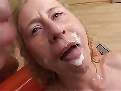 German MILF sucks, fucks and gets cummed