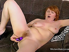 Hairy Strea plays dress up and then her hairy pussy