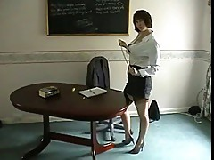 World's most unprofessonal teacher flashes her panties.
