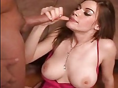 Horny milf Roxetta throat fucked with long schlong and facialized