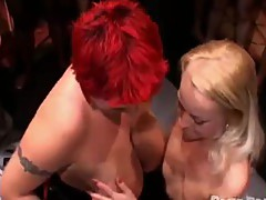 Shorth redhead momma and Blonde milf licking every other in team fuck