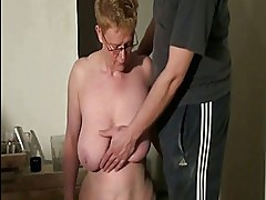 Dirty mature slaves spanking and blowjob