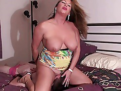 Stepmom ties down cuck for a hot facefuck