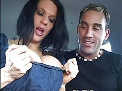 Milf shows huge boobs in car and gets fucked
