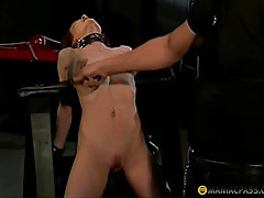 The girl locked in the anvil fucks with guy