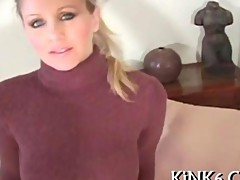 Hot MILF teaser plays in pantyhose