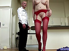 Stocking high heels wearing mature sucks