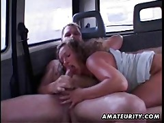 Mature amateur wife sucks and fucks in a car with facial cum