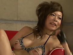 Asian babe Ren teasing two cocks to cream her