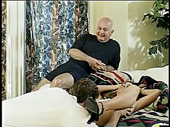 Old fart watches his wife fucked and facialized by stud