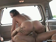 Crazy MILF gets freaky with young guy in backseat of car