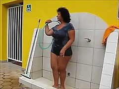 Brazilian granny shower outside