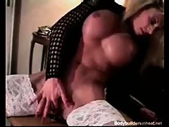 Bizarre blonde mature bodybuilder shows off her extreme muscle body and hardcore fucking