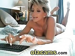 Busty blonde milf ride a dildo