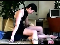 Horny perverted mature brunette dominatrix satisfies her appetite for punishment