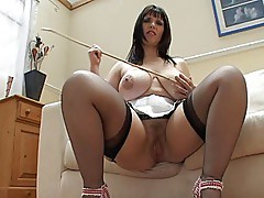 Josephine james masturbates on couch