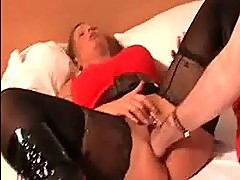Blond milf brutally fisted by a bodybuilder