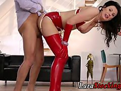 Latex stockings milf ride a cock