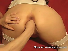 Fist fucking her gaping pussy from behind