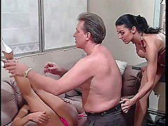 Babe give older stud a foot job