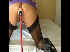 Bigboobed Sperm-Traudl in front a machine for education as 3 hole slut
