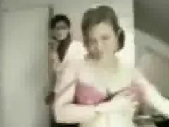 Girl caught stripping by mom