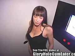 Skinny Glory Hole slut fills her mouth with man meat
