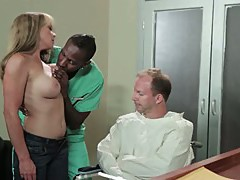 Blonde slut loving huge black penis