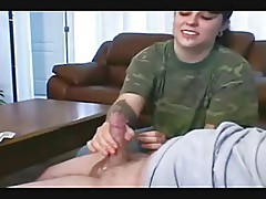 CLOTHED FEMALE GIVES CUCK HANDJOB