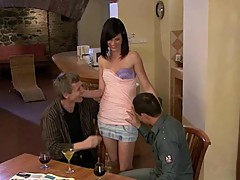 Kinky black haired milf cuckolds aged husband