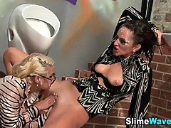 Bukkaked lesbians eat out pussies