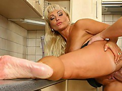 Horny blonde redefines the perverted kitchen