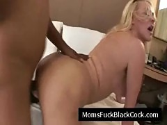 Blonde busty MILF fucked by horny black dude