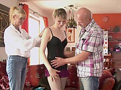 He finds his GF riding his dad\'s phallus