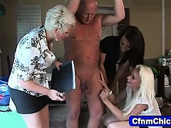 Cfnm babes make fun of losers dick