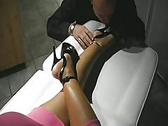 Jerking on Lady Barbara feet and soles