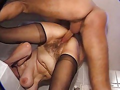 Hairy fat granny fucked in a bathroom