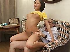 Hottie is giving mature teacher a blowjob session