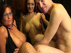 British amateurs- two big tit milfs 69 a guy and he wanks/cums on their tits