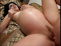 Pregnant Alexis Sucks and Fucks Two Guys