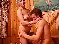 Skinny mom with flabby saggy small tits & guy
