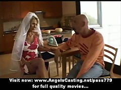 Amateur lovely blonde bride sweet talking with a big guy and flashing panties