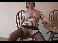 Sexy hairy granny in mini skirt