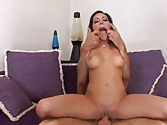 Sexy brunette sucks cock and gets fucked in pussy