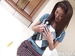 Prim and proper Mafuyu Hanasaki pulls out her secret stash of toys in her bedroom to tease her shaved pussy.